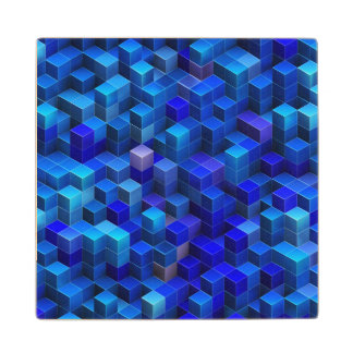 Blue 3D cubes abstract geometric pattern Wood Coaster