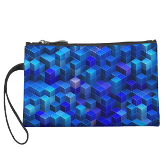 Blue 3D cubes abstract geometric pattern Wristlet Clutches