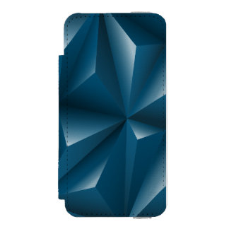 Blue 3d Triangles geometric pattern Incipio Watson™ iPhone 5 Wallet Case