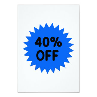 Blue 40 Percent Off 3.5x5 Paper Invitation Card