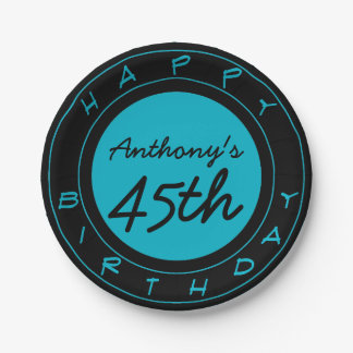 Blue 45th Birthday Party Personalized Paper Plates 7 Inch Paper Plate