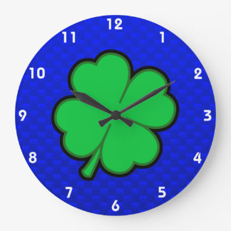 Blue 4 Leaf Clover Large Clock