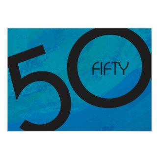 Blue 50 Decade Birthday Poster