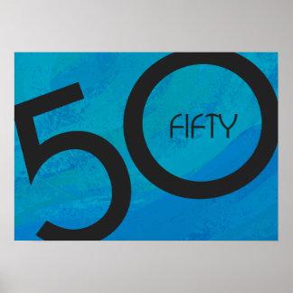 Blue 50 Decade Birthdday Poster