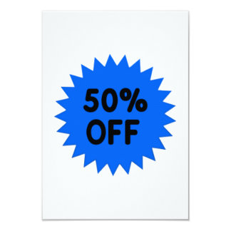 Blue 50 Percent Off 9 Cm X 13 Cm Invitation Card