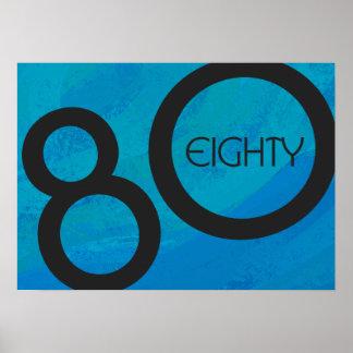 Blue 80 Decade Birthdday Poster