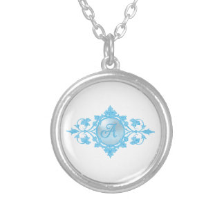 "Blue ""A"" Monogram Silver Plated Necklace"