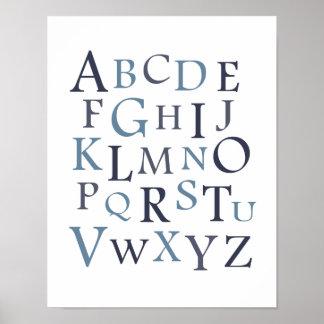 Blue ABC Nursery Typography Print