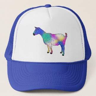 Blue Abstract Art Goat Colourful Animal Design Trucker Hat