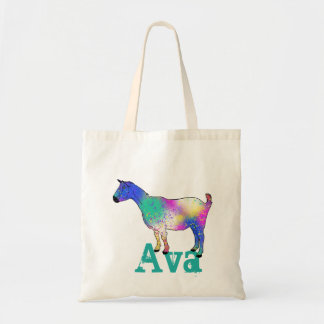 Blue Abstract Art Goat Design with Your Name