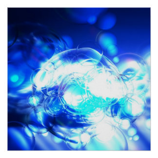 Blue Abstract Art Poster Print Lights & Effects