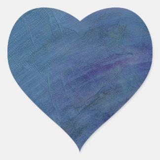 Blue Abstract Art Rain Faeries Heart Stickers
