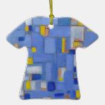 Blue Abstract Art yellow original Decor Christmas Tree Ornaments