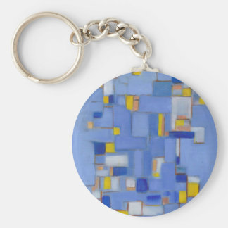 Blue Abstract Art yellow original Decor Key Chains