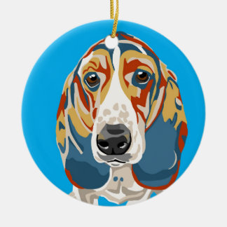 Blue Abstract Basset Hound Christmas Ornament
