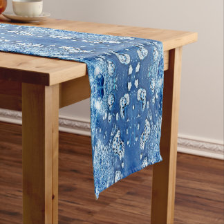 Blue Abstract Bubbles Water and Ice Table Runner