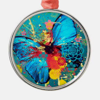 blue abstract butterfly beautiful design christmas ornament