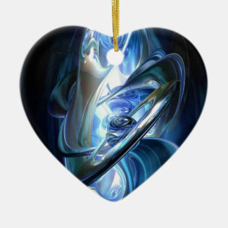 Blue Abstract Ceramic Heart Decoration