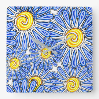 Blue abstract chamomile design square wall clock