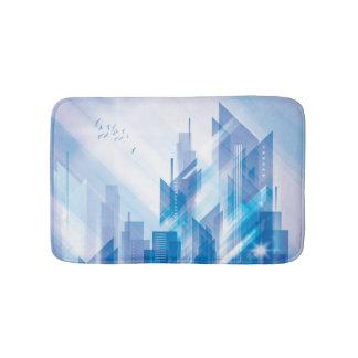 Blue Abstract City Bath Mats