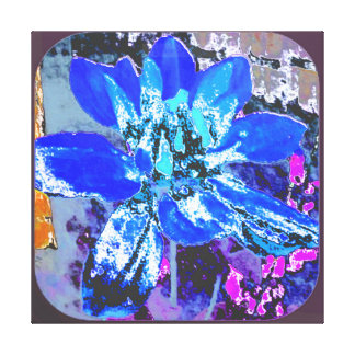 BLUE ABSTRACT DAHLIA FLORAL FLOWER GALLERY WRAP CANVAS