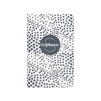 Blue Abstract Dots Pattern with Custom Monogram Journal