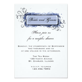 Blue Abstract Floral Couples Wedding Shower 13 Cm X 18 Cm Invitation Card