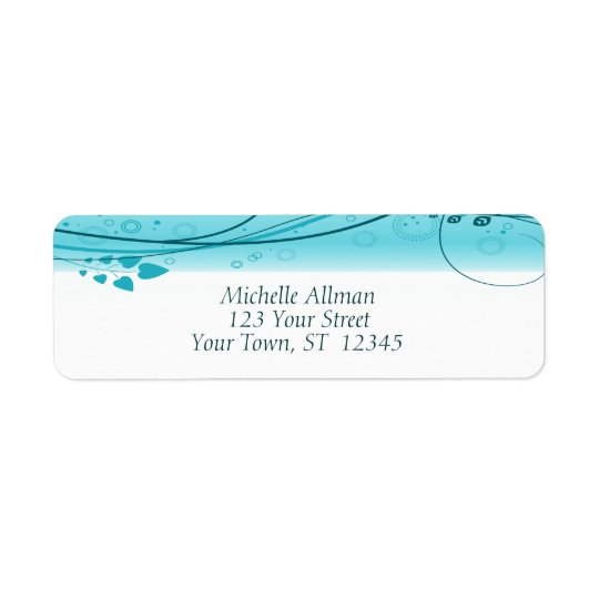 Blue Abstract Floral Swirls Label