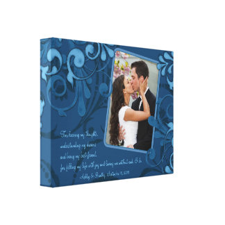 Blue Abstract Floral Wedding Photo Template Canvas Canvas Print