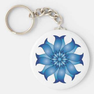 Blue abstract flower design basic round button key ring