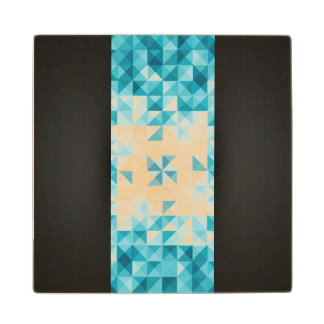 Blue Abstract Geometrical Background Template Wood Coaster