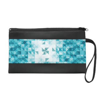 Blue Abstract Geometrical Background Template Wristlet Clutch