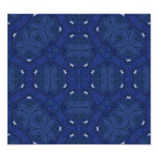 Blue Abstract hexagon pattern Photo Print