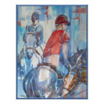 Blue Abstract Horse and Rider Watercolor Art Poster