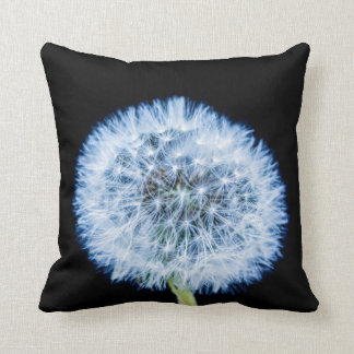 Blue Abstract Macro Dandelion Pillow