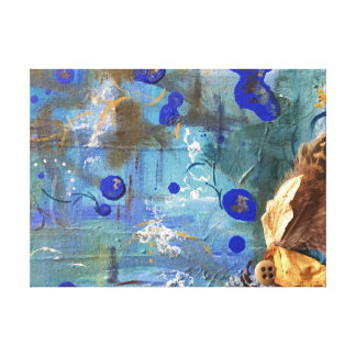 Blue Abstract Mixed-Media Textured Painting Canvas Print
