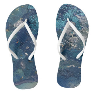 Blue Abstract No.5 Flip Flops