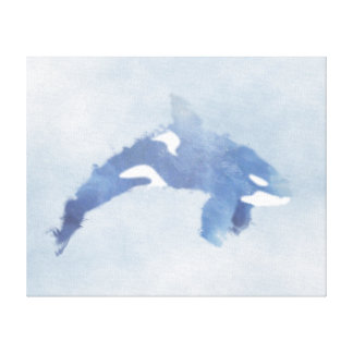 "Blue Abstract Orca Print - Canvas (20""x16"")"