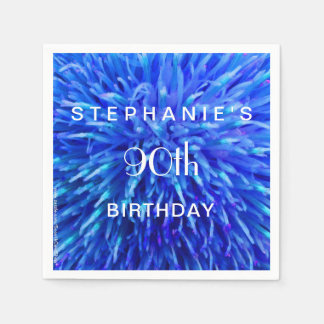 Blue Abstract Paper Napkins 90th Birthday Party Disposable Napkin