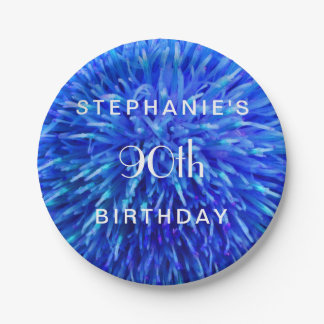 Blue Abstract Paper Plates, 90th Birthday Party Paper Plate
