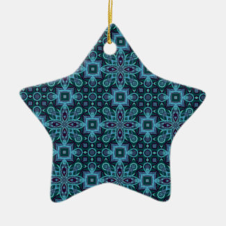 Blue Abstract Pattern Ceramic Star Decoration