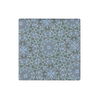 Blue abstract pattern stone magnet