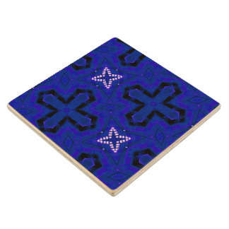 Blue Abstract pattern Wood Coaster