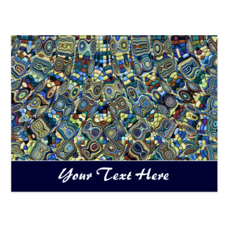 Blue Abstract Pond Template Post Card