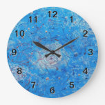 Blue Abstract Printed Pattern Clocks
