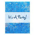 Blue Abstract Printed Pattern Custom Invite