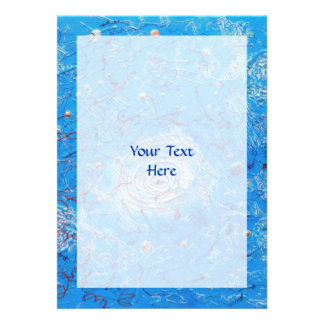 Blue Abstract Printed Pattern Personalized Announcements