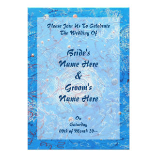 Blue Abstract Printed Pattern Invitations