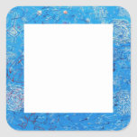 Blue Abstract Printed Pattern Square Stickers