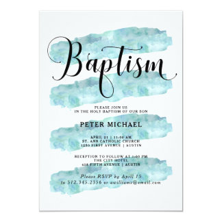 Blue Abstract Stripes   Watercolor Baptism 13 Cm X 18 Cm Invitation Card